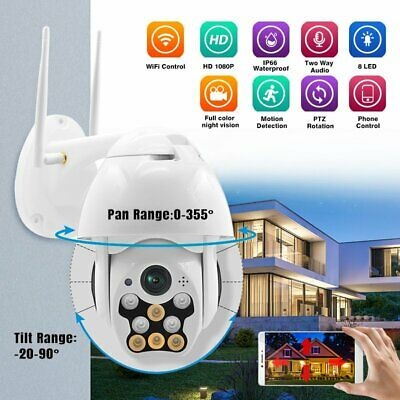 HD 1080P WiFi PTZ Pan Tilt IP IR Security Camera Night Vision Waterproof Outdoor