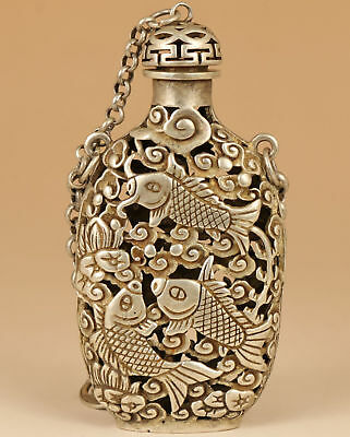 old tibetan silver hand carved hollow out fish lotus statue snuff bottle pendant