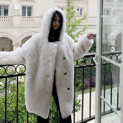 High-end Women Oversized Wool Sheep Fur Outerwear Jacket Chic Hooded Coat Winter