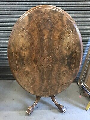 Victorian Inlaid Burr Walnut Oval Tilt Top Loo Table With Four Mahogany Chairs