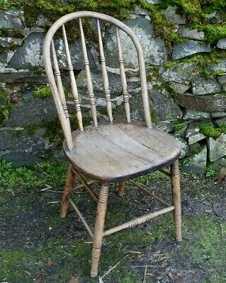 CHAIR WINDSOR VICTORIAN PINE WOOD ENGLISH COUNTRY KITCHEN ANTIQUE 19th CENTURY