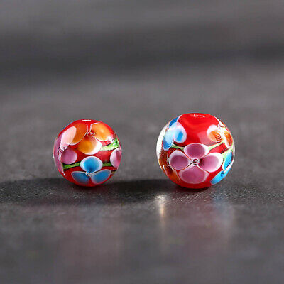 5pcs Flower Round Loose Spacer Glass Beads for Necklace DIY Jewelry Making 12mm