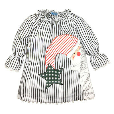 Toddler Kid Baby Girls Santa Striped Princess Dress For Infant Christmas Clothes