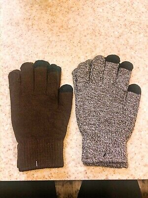 New in Package 2 Pairs Winter Knit Touchscreen Gloves Grey & Brown Unisex