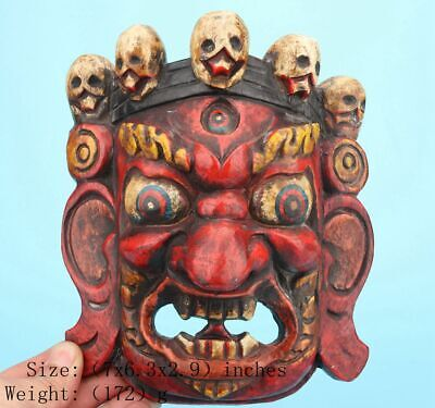 Rare Sacred China Wood Statue Mask Hand-Painted Exorcism Collection Gift