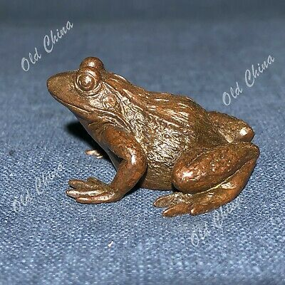 Old Solid Copper Pure Handwork Frog Ornament Chinese Collectible Antique Statue