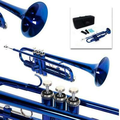 New Blue Student School Band Bb Trumpet W// Casa Xmas Gift for Beginner