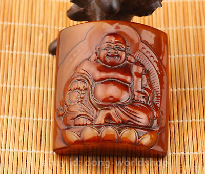 Chinese Oxen Horn HandCarved Buddhism Happy Laugh Maitreya Buddha Amulet Pendant