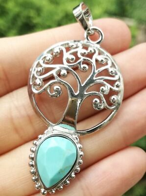 Cyan Turquoise stone Tree of life Magic Energy Reiki Healing Amulet Pendant