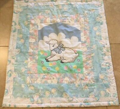 Patchwork Crib Quilt, Lamb Prints, Flowers, Pastel Colors, Hand Made, Blue, Pink