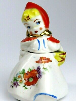 VTG HULL Little Red Riding Hood Covered Sugar Bowl Mustard with Lid  1940s