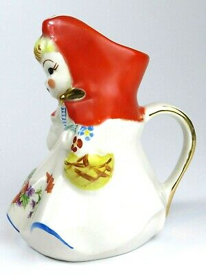 """VTG HULL Pottery Little Red Riding Hood Water Pitcher Tall 8"""" 1940s PERFECT"""