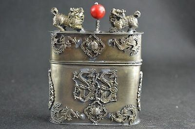 Handwork Miao Silver Carve Lifelike Dragon Phoenix & Kylin Rare Tobacco Box