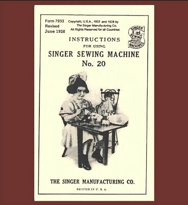 Singer 20 repro copy of vintage toy child sewing machine MANUAL