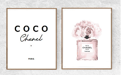 Set Of 2 Coco Chanel Rose Gold Print - A5 - Quote Home Decor Wall Art Fashion