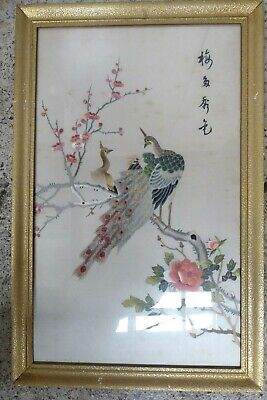 Original Framed Early Japanese Silk Embroidery Peacock Wall Panel