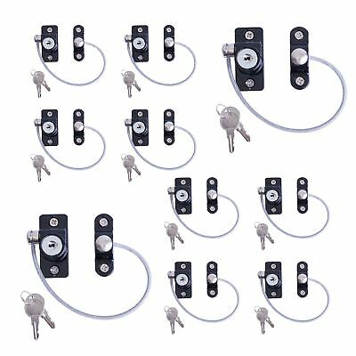 10-x-Black-Window-Door-Restrictor-Safety-Locking-UPVC-Child-Security-Wire-Cable-