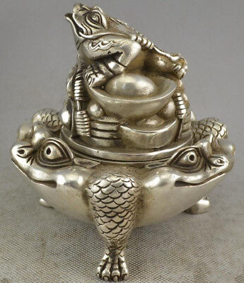 Chinese Tibet Silver Money Toad Incense Burner Censer w421