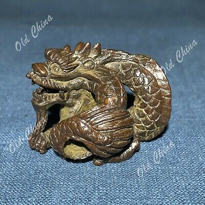 Old Collectible Chinese Solid Copper Pure Handwork Coiling Dragon Antique Statue