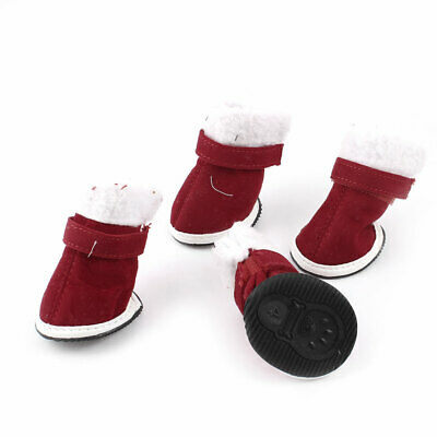 2 Pairs Walking Nonslip Sole White Rim Red Pet Dog Doggy Boot Shoes Size XS