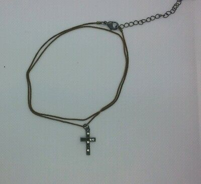 Cross Pendant Necklace Bronze Crucifix Unisex With Chain Few Rhinestones