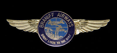 Braniff Air Great Lakes To The Gulf Pilot Crew Wing Pin Up 707 737 747 Dc8 L188