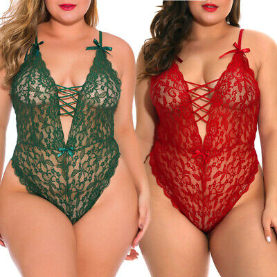 Plus Size Women Sexy Lace Lingerie Teddy One Piece Babydoll Bodysuit Sleepwear