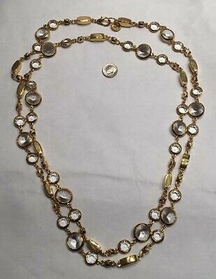 "Vintage ST. JOHN  Gold Tone 60"" Long Crystal Necklace Flapper Mint Condition"