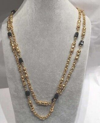 "ST. JOHN  Gold Tone 52"" Long Black Glass Bead Necklace Flapper Mint Condition"