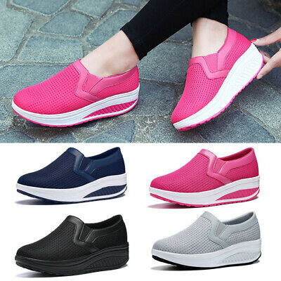 Womens Ladies Girls Slip On Trainer Sneakers Stretch Walking Gym Casual Shoes