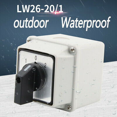 Outdoor Waterproof Switch 20A 0-1-2 Electic Changeover Rotative Box Transfer
