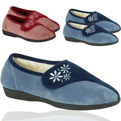 Ladies Women Textile Touch Strap Moccasin Loafers Warm Comfort Casual Shoes Size