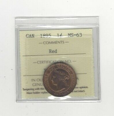1895 , ICCS Graded Canadian, Large One Cent, **MS-63**