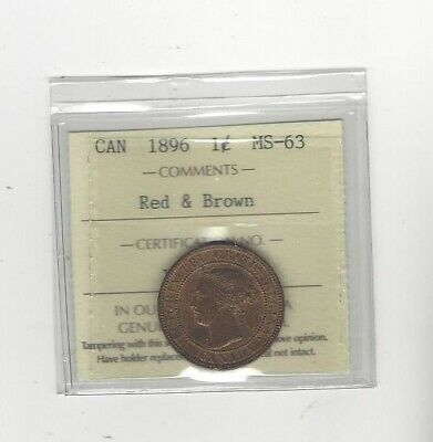 1896 , ICCS Graded Canadian, Large One Cent, **MS-63**