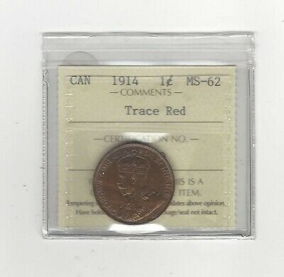 1914 , ICCS Graded Canadian, Large One Cent, **MS-62**