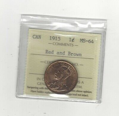 1915 , ICCS Graded Canadian, Large One Cent, **MS-64**