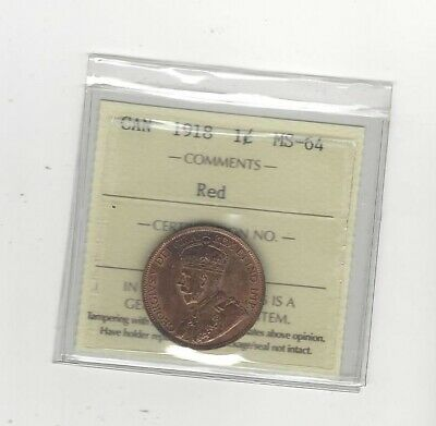 1918 , ICCS Graded Canadian, Large One Cent, **MS-64**