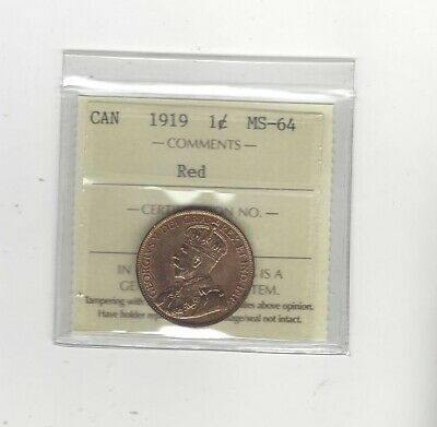 1919 , ICCS Graded Canadian, Large One Cent, **MS-64**