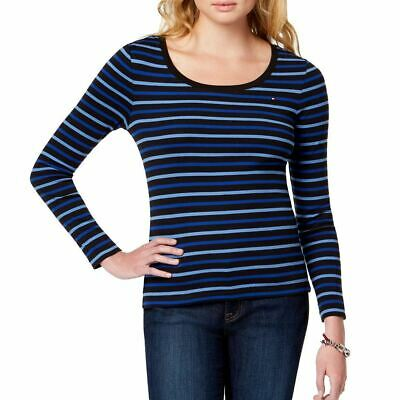 TOMMY HILFIGER Women's Striped Scoop Neck Casual Shirt Top TEDO