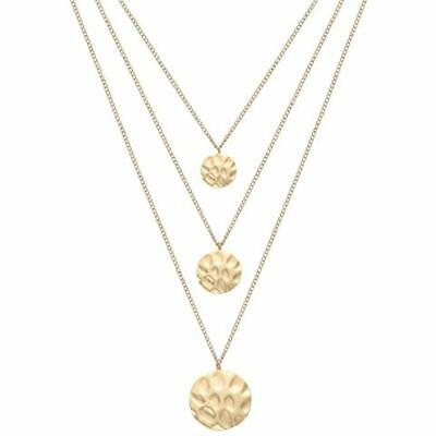 Bohemian Style Gold Finish Hammered Abstract Design Pendant Necklace /& Earrings