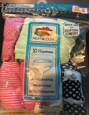 New Girls Fruit of The Loom hipsters cotton Panties Underwear Size 8 Pack
