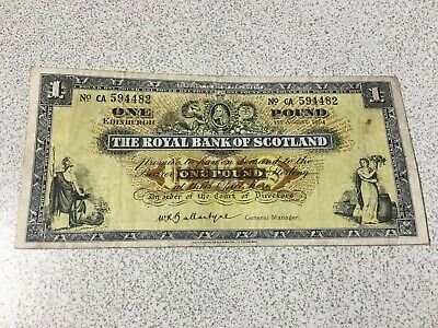 £1 THE ROYAL BANK OF SCOTLAND One Pound Note 1st August 1964 SERIAL NO CA 594482