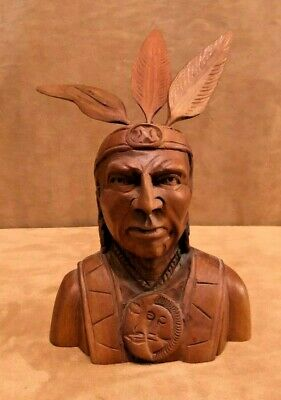 Indian Wood Sculpture Carving Chief Head carved bust vintage Art made feathers