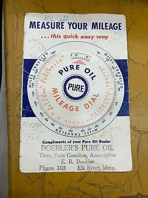 Doebler's Pure Oil Mileage Dial Elk River MN for measuring your mileage 1950s