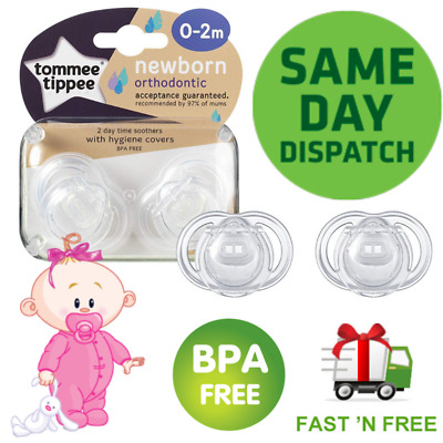 Tommee Tippee Closer To Nature Dummies 0-2 Months Newborn Soother 2 Orthodontic