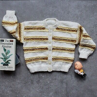 Retro Kids 1-2 Striped Toddler Cardigan Earthy Ochre Boho Boxy Pullover Sweater
