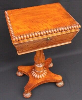 Antique 19th Century English Regency Mahogany Teapoy, Bramah Lock Table Stand