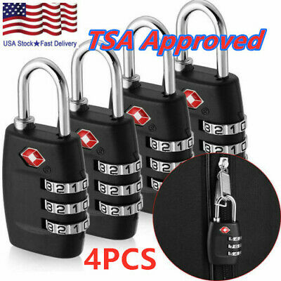 4pcs TSA Customs Lock Travel Luggage 3 Digit Combination Resettable Padlock TL01
