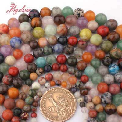 4,6,8,10mm Round Smooth Mixed Stone Loose Beads for Women  Jewelry Making 15""