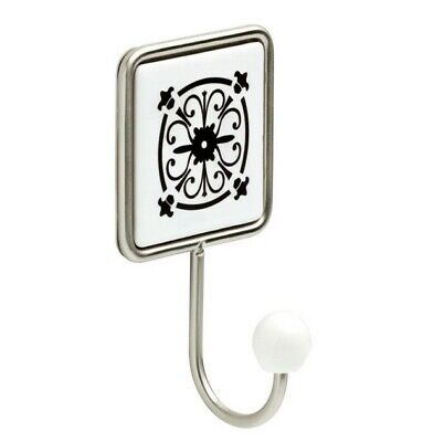 Liberty 6-1/3 in. Flat White and Satin Nickel Decorative Tile Wall Hook